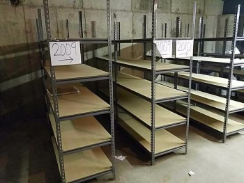 Content of Bay in basement to include 7 shelving