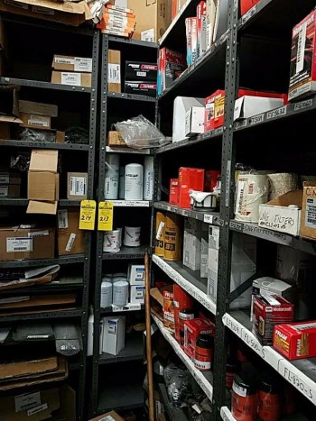 1 Industrial shelving unit and contents