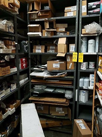 1 Industrial shelving unit and contents includes