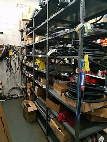 Run of four industrial cabinets and contents to