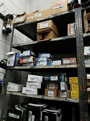 Run of six industrial shelves in Contents