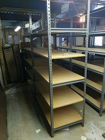 Run of eight industrial shelving