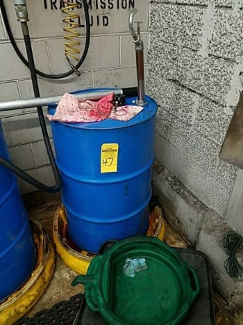 55-gallon drum and pump
