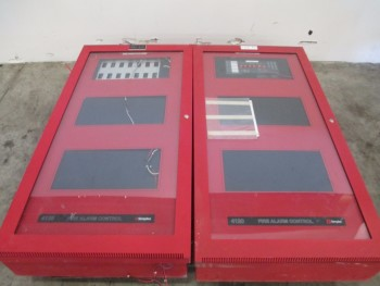 LOT OF 2 SIMPLEX 4120 FIRE ALARM SAFETY CABINET