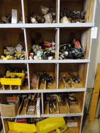 Shelving & Contents: Industrial sizes fuses, outlets, plugs and etc.