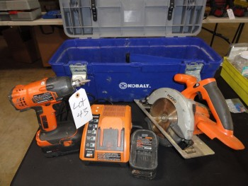 Rigid Max 2.5 ah, Drill & Circular Saw