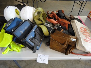 Safety Equipment - Harness, tool belts, gloves, hard hat, etc.
