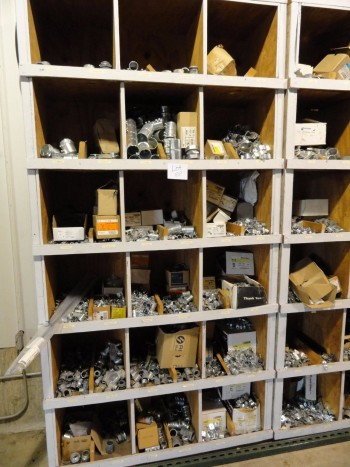 Shelving & contents: steel connectors, couplers, etc.