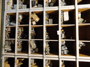 Shelving w/contents: junction boxes, T&L connectors, struts, etc