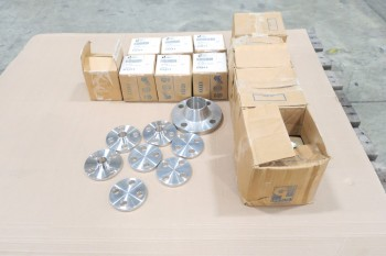 1 PALLET OF ASSORTED PICOR AND TUBE-LINE FOOD GRADE PIPE FLANGE FITTINGS, SCH 5S, 316SS