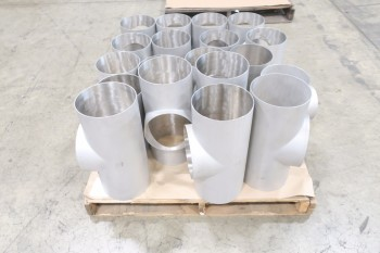 1 PALLET OF ASSORTED 8IN PICOR FOOD GRADE PIPE FITTINGS, SCH 5S, 304SS