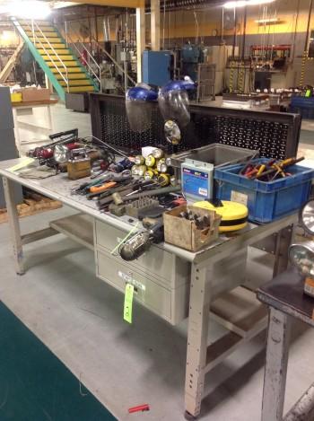 (1) Two  Drawer Metal work Bench