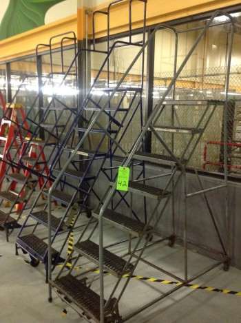 Lot of (3) Rolling Metal Ladders
