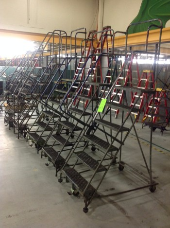 Lot of (8) Rolling Metal Ladders