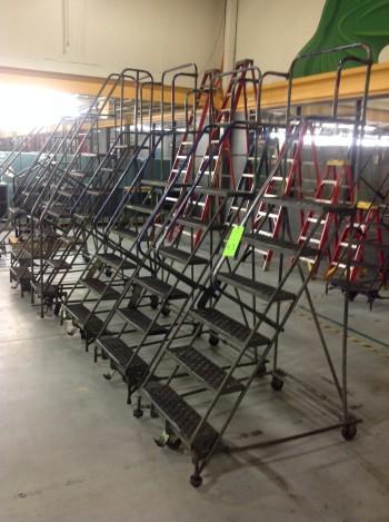 Lot of (8) Rolling Metal Ladders