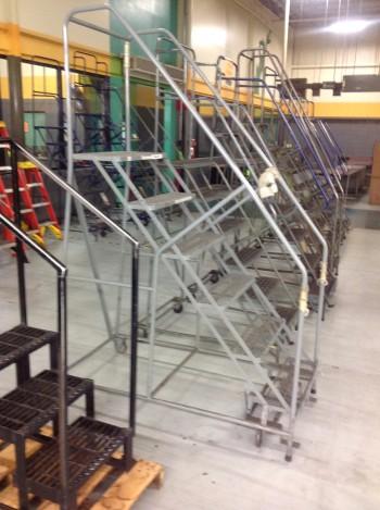 Lot of (5) Rolling Metal Ladders