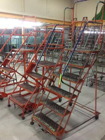 Lot of (3) Rolling Metal Ladders