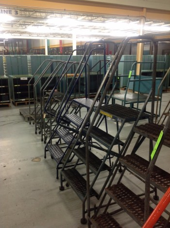 Lot of (6) Rolling Metal Ladders