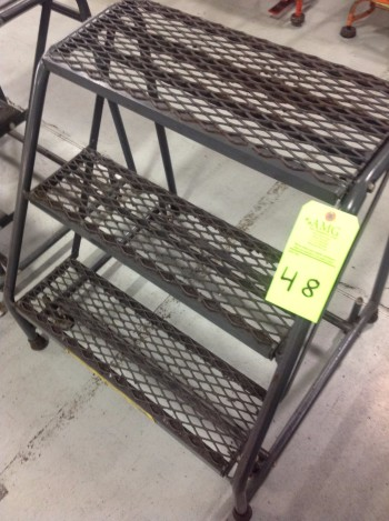 Lot of (10) Rolling Metal Ladders