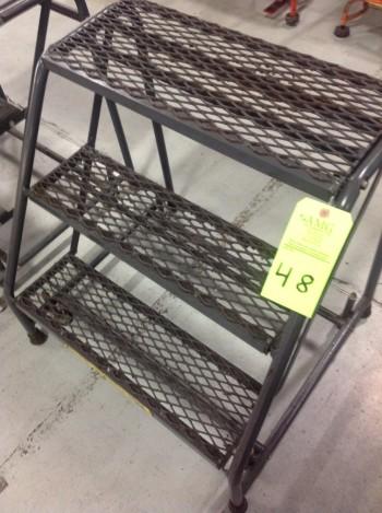Lot of (10) Rolling Metal Ladders