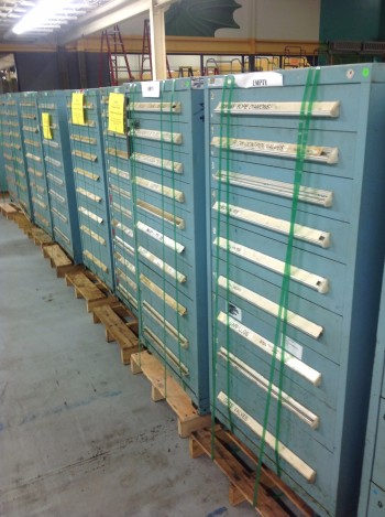 Lot of  (9) Stanley Vidmar Tool Cabinets w/ (7) SV Top extension Stacking units
