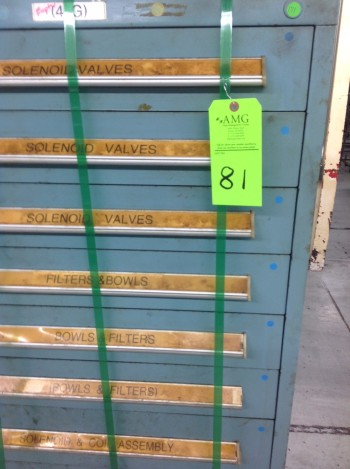 Lot of (6) Stanley Vidmar Tool Cabinets w/ (6) SV Top extension Stacking units