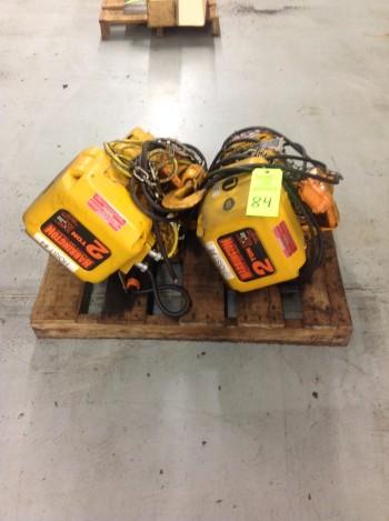Lot of (2) Harrington 2 Ton Electric Hoists