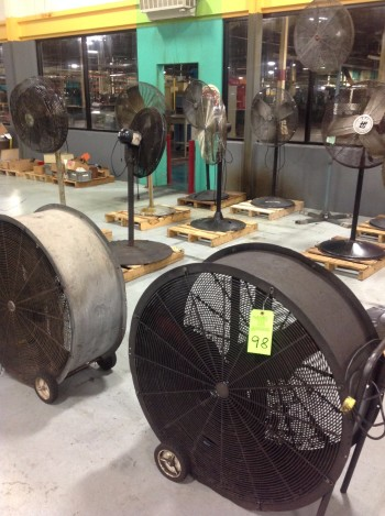 Lot of (19) Various sized Shop Fans