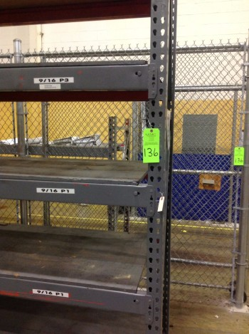 Lot of Steel Pallet Racks w/ Chain link security fencing