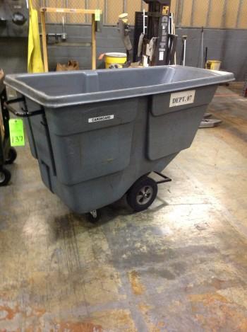 Plastic trash dump wheeled cart