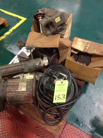 Lot of (8) Pallets, Bins of Electrical motors, various Electrical