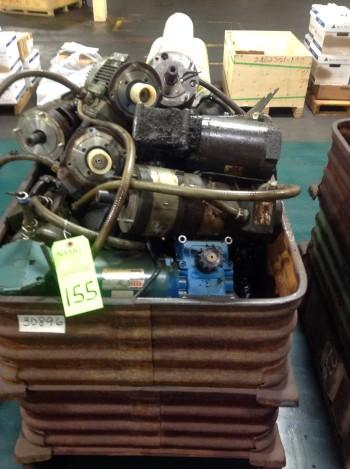 Lot of (5) Metal Bins w/ Spare Servo-Motors, Standard Motors