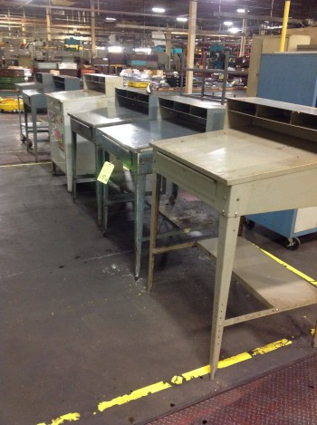 Lot of Metal shop Desks, Cabinets, Rolling stands