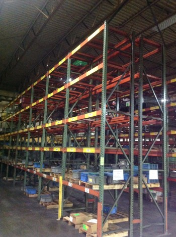 Heavy duty metal pallet racking.