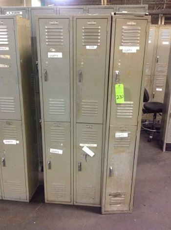 Lot of (11) sections of Metal Lockers w/ Metal shop Tables