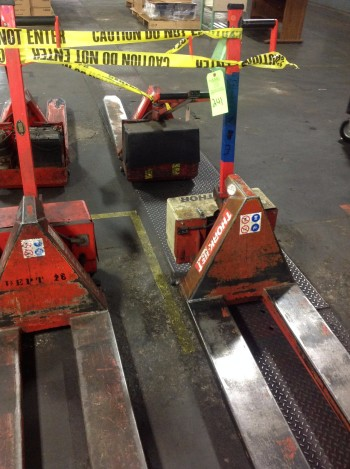 Lot of (6) Electric Lifts, 2,200lbs cap.,Thork-Lift,Scissor Pallet lifts