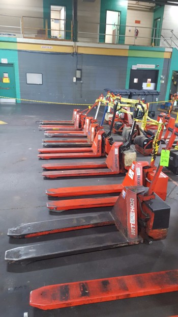 Lot of (8) Electric Lifts, 2,200lbs cap. Thork-Lift, Scissor Pallet lifts