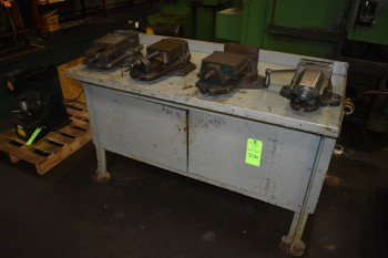 Lot of (4) Machine vises, Metal work Bench
