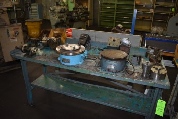 Lot of misc. Electric Rotary tables & Various sized Chucks w/Table