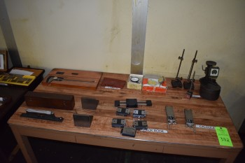 Lot of Calipers & contents w/Table