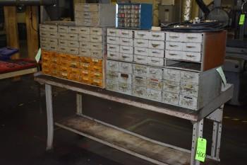 Table w/ Parts bin cabinet
