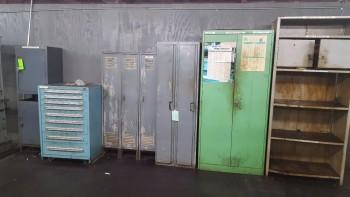 Lot of (10) Various Metal Racks, Stanley Vidmar 9 Drawer cabinet