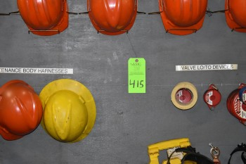 Lot of Safety equipment, Hard hats, Weld helmets,Tape