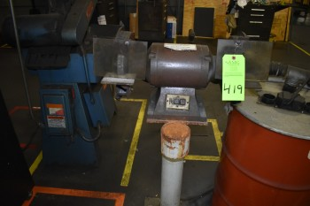 Lot of (2)  Pedistal Grinders w/ Dust collector & Drum