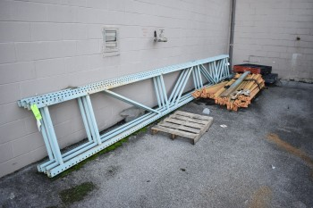 Lot of Misc. Metals, Racking, Conveyor, located outside
