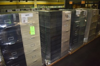 Lot of (8) 4 drawer metal office FIle Cabinets