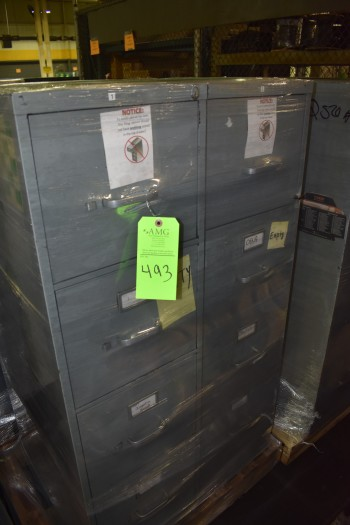 Lot of (6) 4 Drawer metal office Cabinets