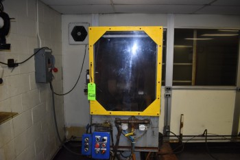 Chop Saw & Electric enclosure w/ Coolant tank & Pump, Located in Heat Treat room