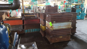 Lot of approx. (50) stack able Steel Tubs
