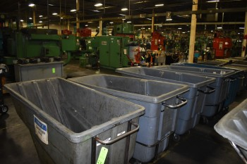 Lot of (5) Plastic Garbage Dump Carts